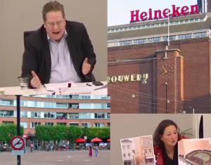 Onder: Paul Slettenhaar, Heineken Experience. Onder: Huidig Marie Heinekenplein, Ambtenaar presenteert de nieuwe plannen (bron: Wikicommens)