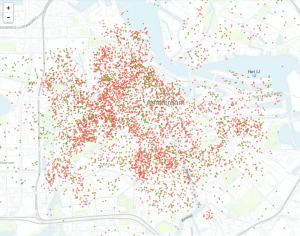 Een weergave van de bijna zesduizend appartementen en kamers die meer dan zestig dagen per jaar worden verhuurd op Airbnb (Bron: Inside Airbnb)