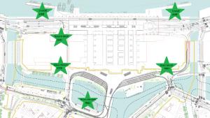 De zes toekomstige fietsenstallingen rond Amsterdam Centraal (Bron: gemeente Amsterdam)
